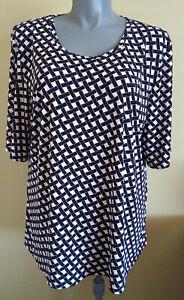Womens Black & White Check Jersey Blouse Short Sleeve Top Lagos Plus Size M (20)