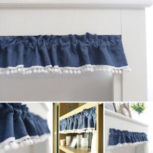 Cafe Bar Short Half Curtains Window Kitchen Cabinet Door Pompom Valance Drapes