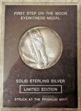Franklin Mint First Step on the Moon Eyewitness Sterling Silver Medal with COA