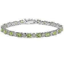 Peridot Gemstone Oval Eternity Sterling Silver Bracelet