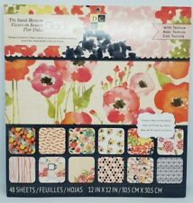 DCWV Sweet Blossom 12x12 Printed Cardstock Stack Pad 48 TEXTURED Sheets Craft