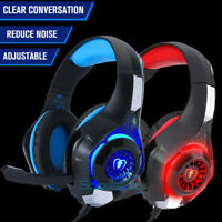 3.5mm Gaming Headset Mic LED Headphones Stereo Surround For PC iMac Xbox One PS4