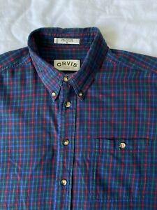 Mens Orvis Shirt Fits Size XXL / 2XL Navy Blue Check Pattern Button Up Vintage