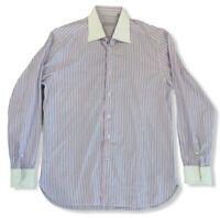 Stefano Ricci Men's Sz 16/41 Striped Button Front Contrast Collar/Cuff Shirt euc