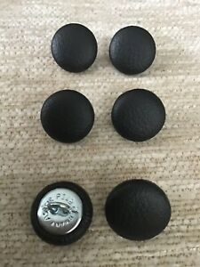 Faux Leather 24L/15mm Noire Vinyl Covered Loop Back Upholstery Buttons (Black)