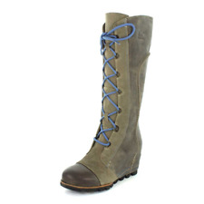 Sorel Cate the Great Wedge Pebble/Atmosphere Leather Winter Snow Boots Size 10.5