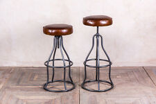 Adjustable Brown Leather Bar Stool Upholstered Vintage Industrial Style Stools
