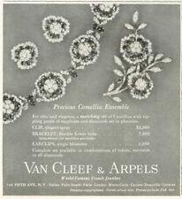 1958 Van Cleef & Arpels Camellia Ensemble Bracelet Earclips PRINT AD