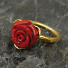Handmade Hammered Band Coral Carved Ring Yellow Gold over 925 Sterling Silver