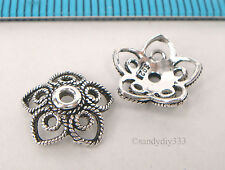 2x BALI OXIDIZED STERLING SILVER FLOWER BEAD CAP 10.5mm #2186