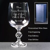 Personalised 9oz Crystal Wine Glass, Anniversary Gift 5th 10th 20th 25th 30th