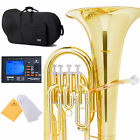 2015 NEW MENDINI 4 VALVE GOLD BRASS Bb EUPHONIUM +CASE+$39TUNER