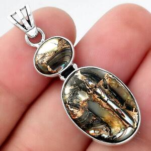 Natural Copper Abalone Shell 925 Sterling Silver Pendant Jewelry E194