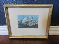 Original Watercolor Pen Ink Art Print Mountains Landscape Signed Framed