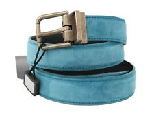 DOLCE & GABBANA Belt Blue Leather Gold Buckle Mens s. 90cm / 36in RRP $300