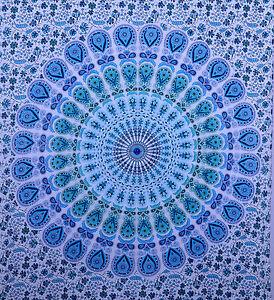 Etnico Indiano Blu Doppio da Parete Hippie Arazzo Mandala Telo Decorativo Arte