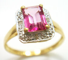 SYJEWELLERY 9CT YELLOW GOLD NATURAL PINK TOPAZ & DIAMOND RING    SIZE N     R968