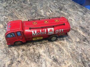 "Vintage 1950's Mobil Gas Station 11"" Metal Toy Truck Sign"