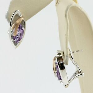 Sterling Silver Marquise Purple Amethyst Earrings Rose Plated Omega Backs NWB