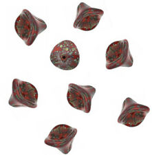 12 Red Picasso Three Petal Czech Glass Flower Beads 12MM