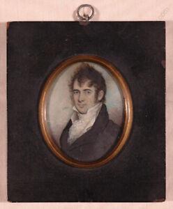 """Jeremiah Paul Jr. (1775-1820) """"Portrait of a Gentleman"""", important miniature (m)"""