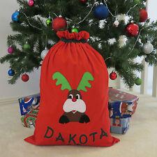 CHILD'S PERSONALISED CHRISTMAS / SANTA SACK - RUDOLPH DESIGN -