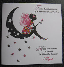 HANDMADE PERSONALISED BIRTHDAY IN HEAVEN  CARD,MOON & STARS FAIRY