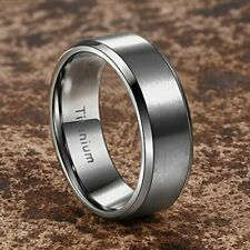 Men's Ring Titanium 8 mm Brushed Silver with Polished Beveled Edge SIZE 12