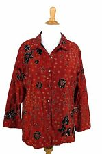 CHICOS Jacket 3 Red Floral 100% Silk Black Gold Sequin Embroidered L XL