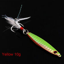 Top Fishing Lure Lead Fish Metal Jigging Wobbler Crankbaits Bass Feather Hook AU Yellow 40g