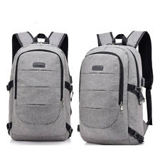 Gray Anti-Theft Men Women Travel Backpack Usb Charge Laptop Updated School Bag