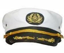CAPTAINS HAT NAVAL OFFICER PEAKED CAP SAILOR FANCY DRESS COSTUME ACCESSORY