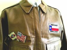 Vintage Cuero De Cabra 25TH Fighter Sq, aplicar parches Vuelo Chaqueta usa grandes