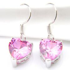 Romantic Jewelry Love Heart Natural Pink Fire Topaz Silver Dangle Hook Earrings