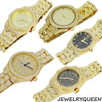 Men's Iced out Bling Luxury Rapper's CZ Gems Metal Band Bracelet Clubbing Watch
