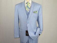 Men's VITALI Three Piece Suit Vested Shiny Sharkskin Plain front M3090 Sky Blue