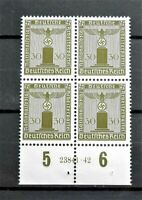 WW2 REAL 3rdREICH ERA GERMAN BLOCK OF 4. OFFICIAL.STAMPS WITH MARG 30RF