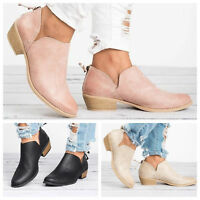 US Womens Low Heels Ankle Boots Booties Round Toe Zipper Casual Shoes Size