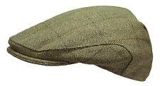 WWK Mens / Kids Derby Tweed Flat Cap Country Walking Casual Green Teflon Coated