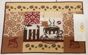"FRESH,RICH /& HOT COFFEE CUPS 18/""x30/"" Printed Kitchen Rug nonskid heavy,Retro"