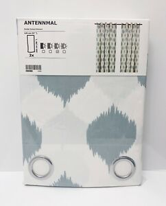 "Ikea ANTENNMAL Curtains 2 Panels (1 pair) 57"" x 98"" Geometric White/Blue NEW"