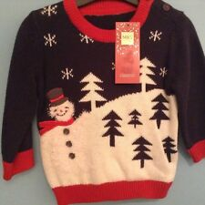 BNWT M&S CHRISTMAS JUMPER, SNOWMAN, AGE 6-9 MONTHS FREE POSTAGE