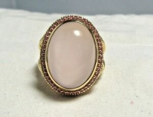 David Yurman 18K Solid Gold 19MM X 14MM Rose Quartz & Sapphires  Ring  Size 7.25