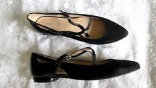 NINE WEST 'OSTERIA' 7.5M Black Suede Leather Patent Heel Pointed Toe FLATS NEW