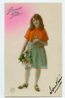 1920s Children Child Pretty YOUNG GIRL Fashion photo postcard