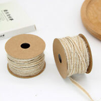 10M Natural Vintage Fish Silk Hemp Ribbon W/White Line Trim Tape Roll Spool Gift