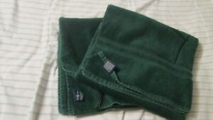 """Two Vtg Ralph Lauren 100% Cotton Green Bath TOWELS 48"""" x 27"""" Made in USA"""