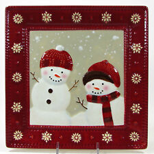 """St. Nicholas Square WARM WISHES 9.5"""" Square Salad Plate Snowman Brown Red"""