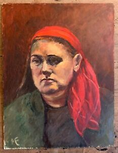 Marika Eversfield (1914-2014) - 20th Century Oil, Women with red scarf