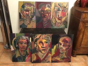 # Lot 6 Tableaux Peinture abstrait Art Brut, Portrait , Outsider art